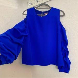 Royal Blue Ruffled Sleeves Blouse